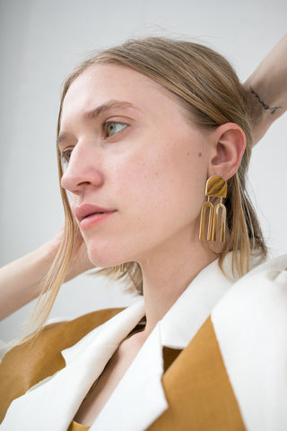 Quarry Lautner Earring in Brass | Oroboro Store | New York, NY