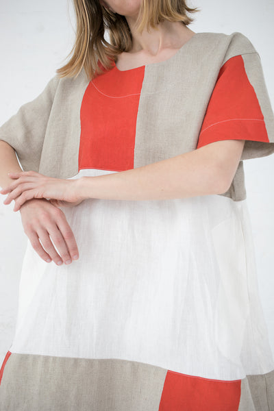 Nancy Stella Soto Striped Linen Two-Toned Dress in Red | Oroboro Store | New York, NY
