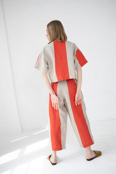 Nancy Stella Soto Striped Linen Trousers in Red | Oroboro Store | New York, NY