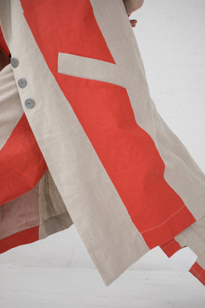 Nancy Stella Soto Striped Linen Jacket in Red | Oroboro Store | New York, NY