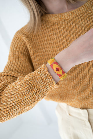 Robin Mollicone Eye Cuff in Carnelian with Yellow, Red, Gold | Oroboro Store | New York, NY