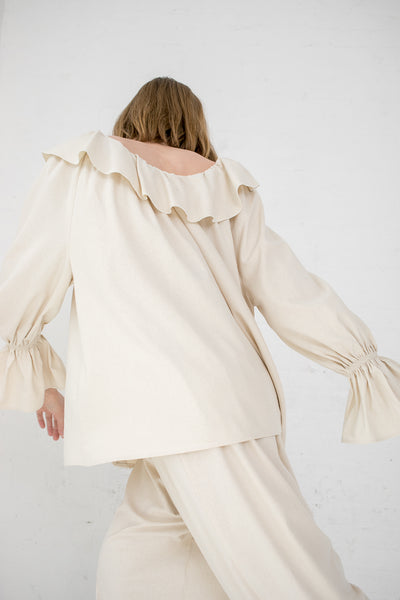 Baserange Suzanne Blouse in Off-White | Oroboro Store | New York, NY