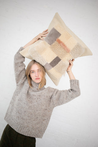 Milena Silvano Recycled Sheepskin and Boiled Wool Pillow - Scrap Pillow in Pale | Oroboro Store | New York, NY