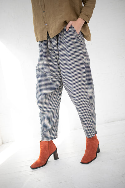 Ichi Antiquites Pant Linen in Black Gingham | Oroboro Store | New York, NY