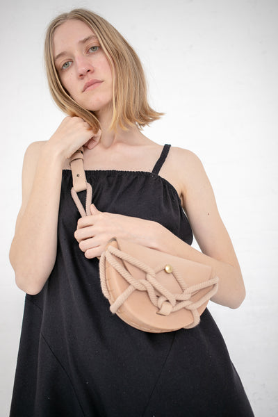 Eatable of Many Orders Monkey Pouch with Chain Belt in Beige with Beige Rope | Oroboro Store | New York, NY