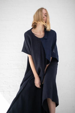 Cosmic Wonder Box Tuck Gathered Dress with Cape in Navy | Oroboro Store | New York, NY