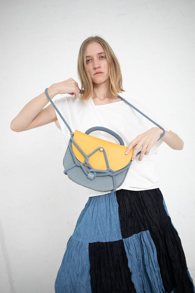 Eatable of Many Orders Monkey Bum Bag in Yellow/Blue with Blue Rope | Oroboro Store | New York, NY