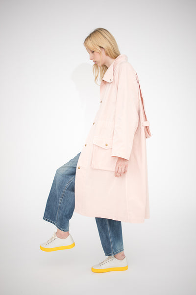 Chimala Military Canvas Cape in Pink Beige | Oroboro Store | New York, NY