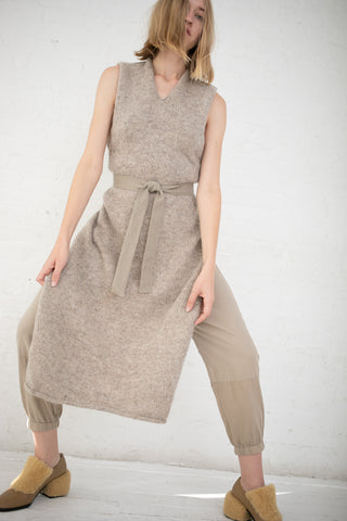 Cosmic Wonder Knit Apron Dress in Beige | Oroboro Store | New York, NY