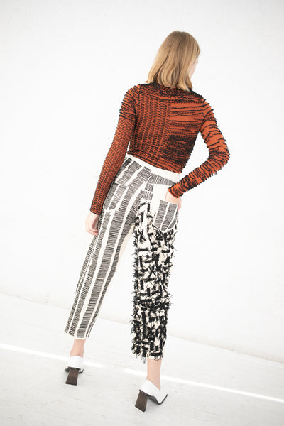 Luna Del Pinal Embroidery High Waisted Trouser in Black/White | Oroboro Store | New York, NY