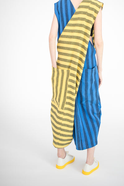 69 Crossover Alls in Yellow & Blue / Gray Stripes | Oroboro Store | New York, NY