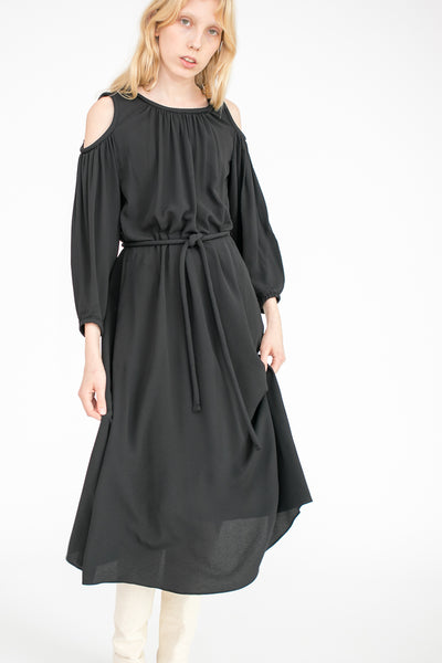 Dress with Shoulder Cut Out in Black