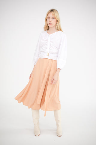 Veronique Leroy Wrap Skirt with Ties in Nude | Oroboro Store | New York, NY