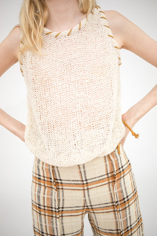 Veronique Leroy Sleeveless Knitted Top in Off White| Oroboro Store | New York, NY