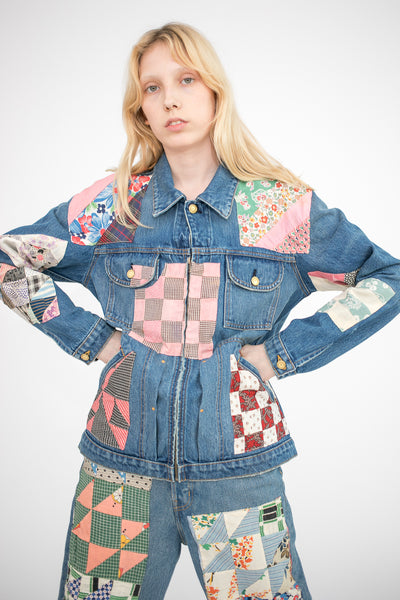 B Sides Lennon Jacket in Isaac Checkered and Antique Quilt Patchwork S | Oroboro Store | New York, NY