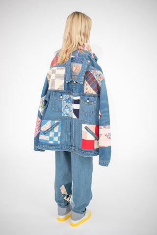 B Sides Lennon Jacket in Isaac Checkered and Antique Quilt Patchwork M | Oroboro Store | New York, NY