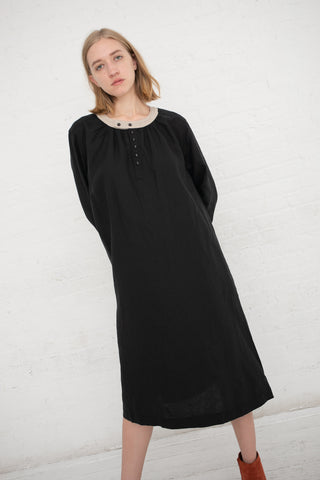 Ichi Antiquites L/S Dress Linen in Black / Natural | Oroboro Store | New York, NY