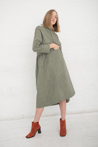 Ichi Antiquites Dress Cotton / Linen in Olive | Oroboro Store | New York, NY