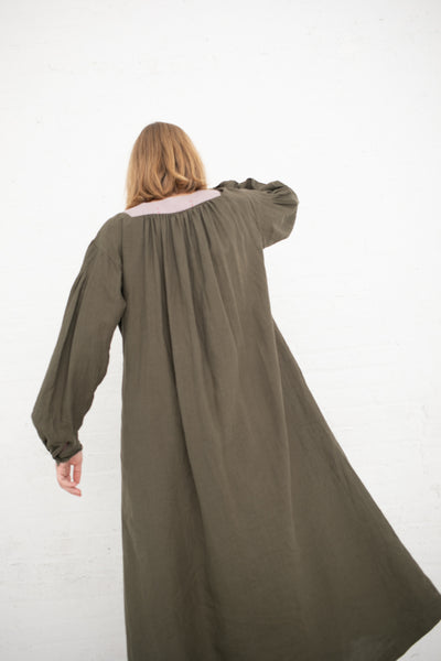 La Bergere 1880's in Dark Green Body, Mauve Bib | Oroboro Store | New York, NY