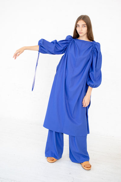 Baserange Honda Dress in Raw Silk Aster Blue | Oroboro Store | New York, NY