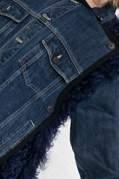 Lutz Huelle Shearling Jacket in Blue Denim/Night Blue | Oroboro Store | New York, NY