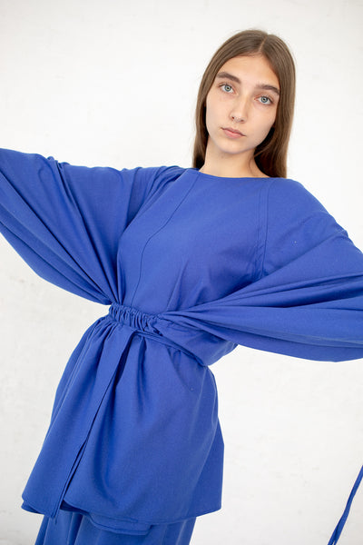 Baserange Honda Blouse in Raw Silk Aster Blue | Oroboro Store | New York, NY