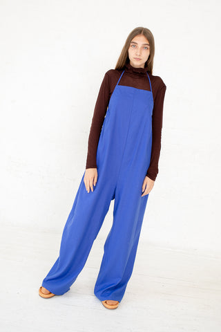 Baserange Otay Honday Jumpsuit in in Raw Silk Aster Blue Front View Full Body, Oroboro Store, New York, NY