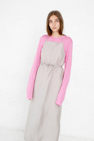 Baserange Apron Honda Dress in Voile Silk Tomita Grey | Oroboro Store | New York, NY