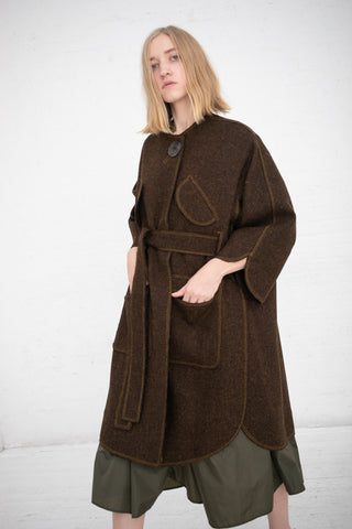 Veronique Leroy Oversized Coat with Open Sleeves in Khaki | Oroboro Store | New York, NY