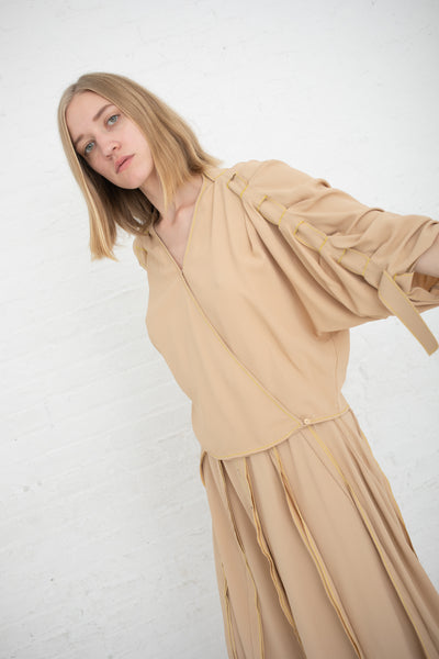 Veronique Leroy Draped Top with Sleeve Strap Detail in Straw | Oroboro Store | New York, NY