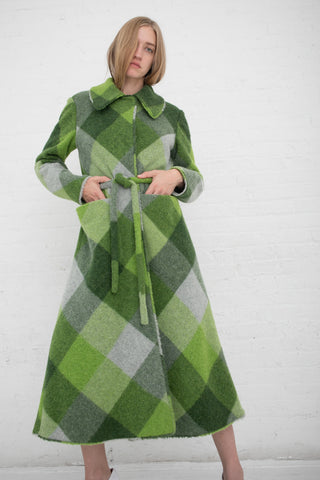 Veronique Leroy Coat with Belt in Multi Green | Oroboro Store | New York, NY