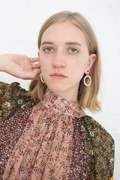 Robin Mollicone Small Beaded Hoop Earring in Red Jasper with Pink Dots | Oroboro Store | New York, NY