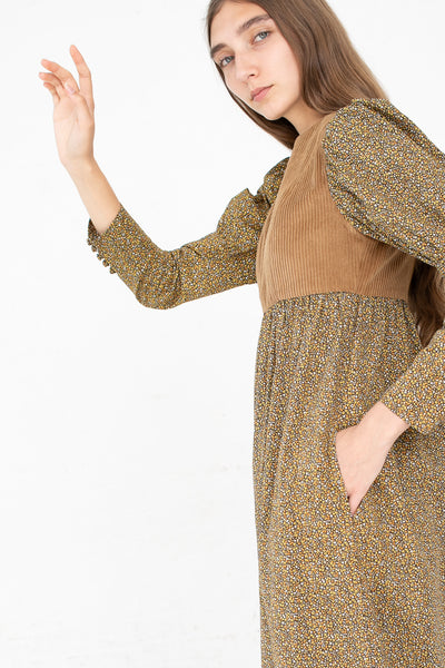 Batsheva Holly Dress in Brown Floral and Brown Corduroy | Oroboro Store | New York, NY