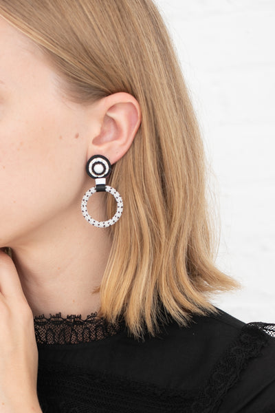 Robin Mollicone Small Beaded Hoop Earring in White Howlite with Black Dots | Oroboro Store | New York, NY