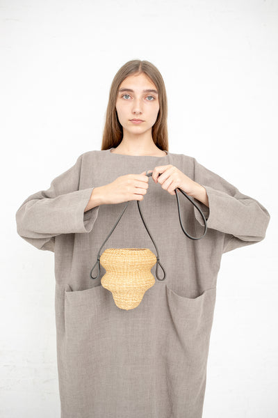 Inès Bressand Akamae Basket No. 5 - Mini Weavy Shoulder Bag in Elephant Grass | Oroboro Store | New York, NY