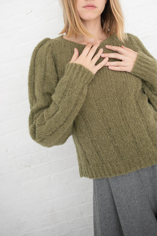 Samuji Bahar Sweater in Khaki Green | Oroboro Store | New York, NY