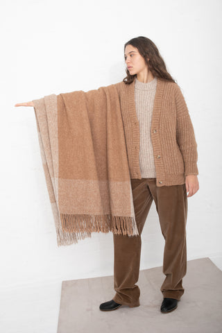 Lauren Manoogian Handwoven Plaid Blanket in Camel Combo | Oroboro Store | New York, NY