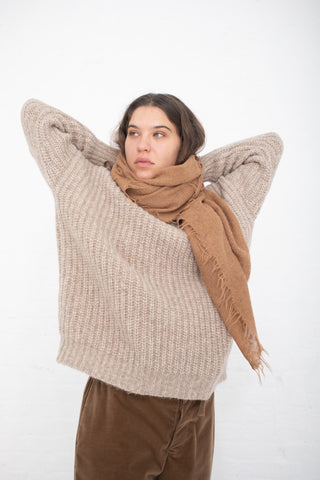 Lauren Manoogian Fringe Scarf in Camel | Oroboro Store | New York, NY