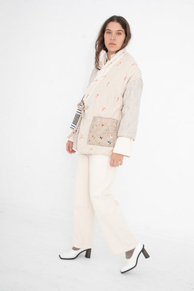 CMC Patchwork Coat in Cream with Red Ties | Oroboro Store | New York, NY