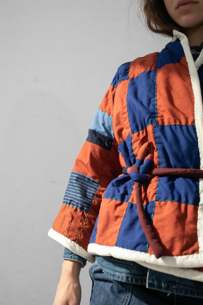 CMC Patchwork Jacket  in Rust/Blue Checkered | Oroboro Store | New York, NY
