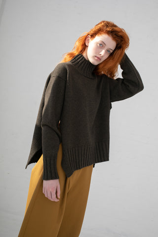 Studio Nicholson High Neck Knit with Side Slit in Acorn Lambs Wool | Oroboro Store | New York, NY