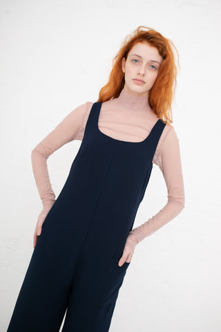 Nomia Wide Leg Jumpsuit with Side Pocket in Navy | Oroboro Store | New York, NY