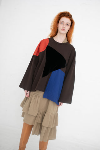 Correll Correll Appli Grand Sweatshirt in A. Brown-W/Red Jersey Circle, Black Velvet Triangle, Blue Jersey Square | Oroboro Store | New York, NY