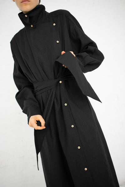 Baserange Aorta Jumpsuit in Black / Linen Cotton | Oroboro Store | New York, NY