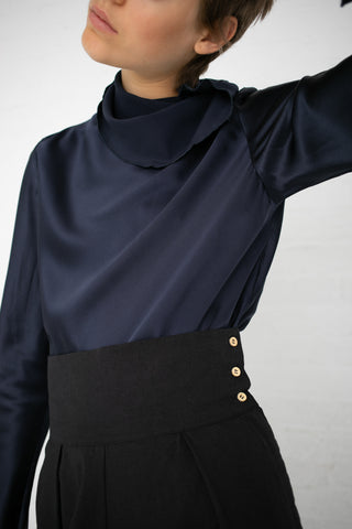 Baserange Dydine Turtleneck in Vein Blue / Silk Satin | Oroboro Store | New York, NY