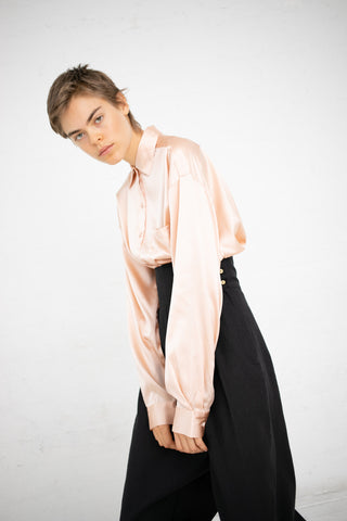 Baserange Pachino Shirt in Spine White / Silk Satin | Oroboro Store | New York, NY