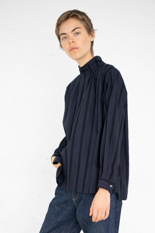 Chimala Leno Cloth High Neck Shirt in Navy | Oroboro Store | New York, NY