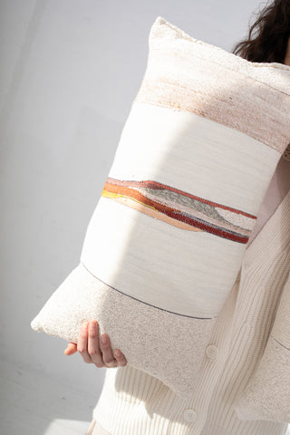 Jess Feury Lumbar Pillows in Cream with Rust & Red | Oroboro Store | New York, NY
