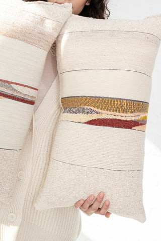 Jess Feury Lumbar Pillows in Cream with Ochre & Maroon | Oroboro Store | New York, NY
