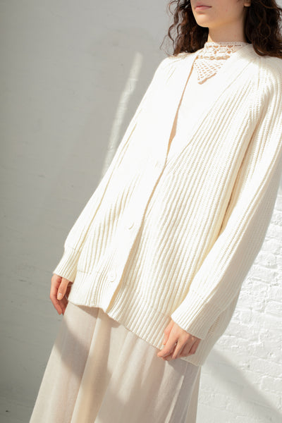 c7e3533f583 Ryan Roche Oversized Ribbed Cardigan in Ivory